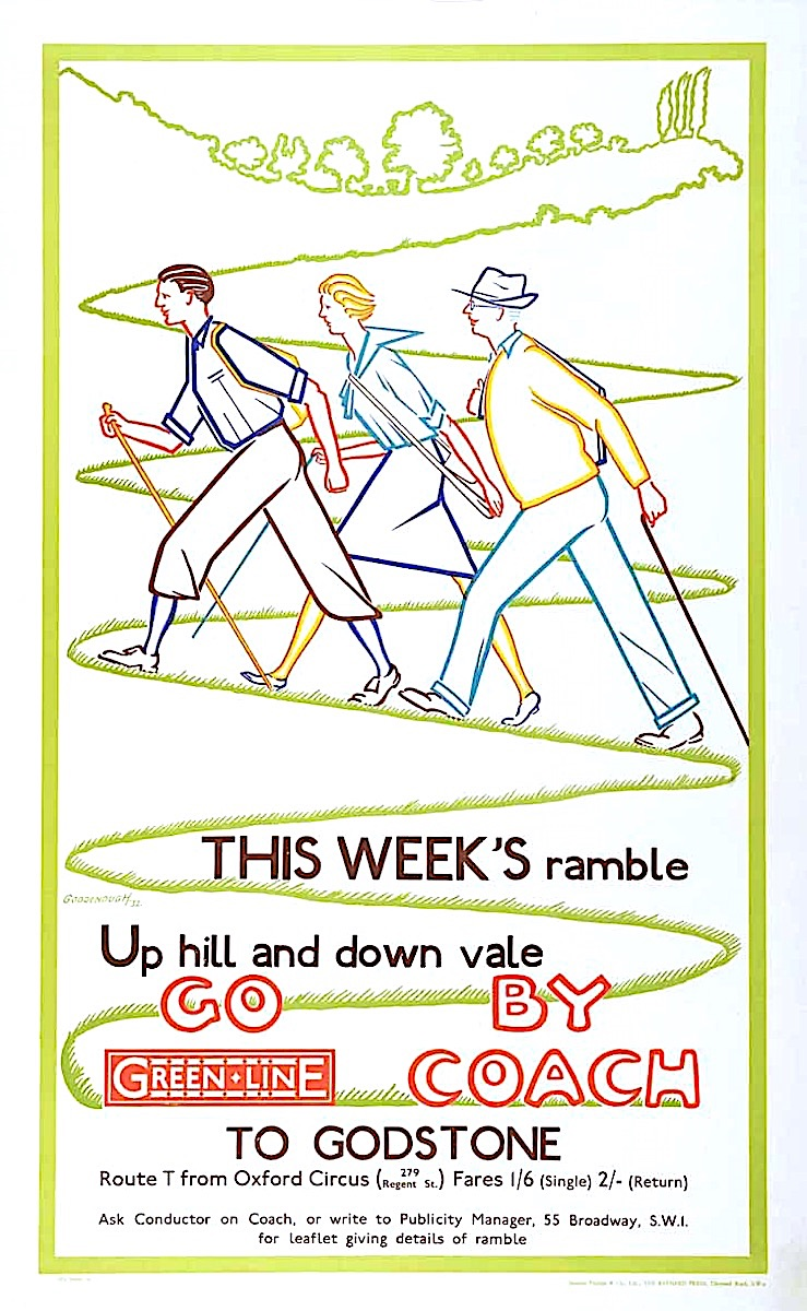 a British bus route poster of three people hiking with color linear art, Go Green Line By Coach