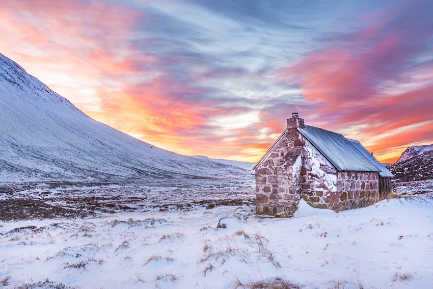 House On Snow When Sunset