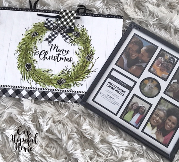 Dollar Tree Christmas gift bag wreath buffalo check bow black frame