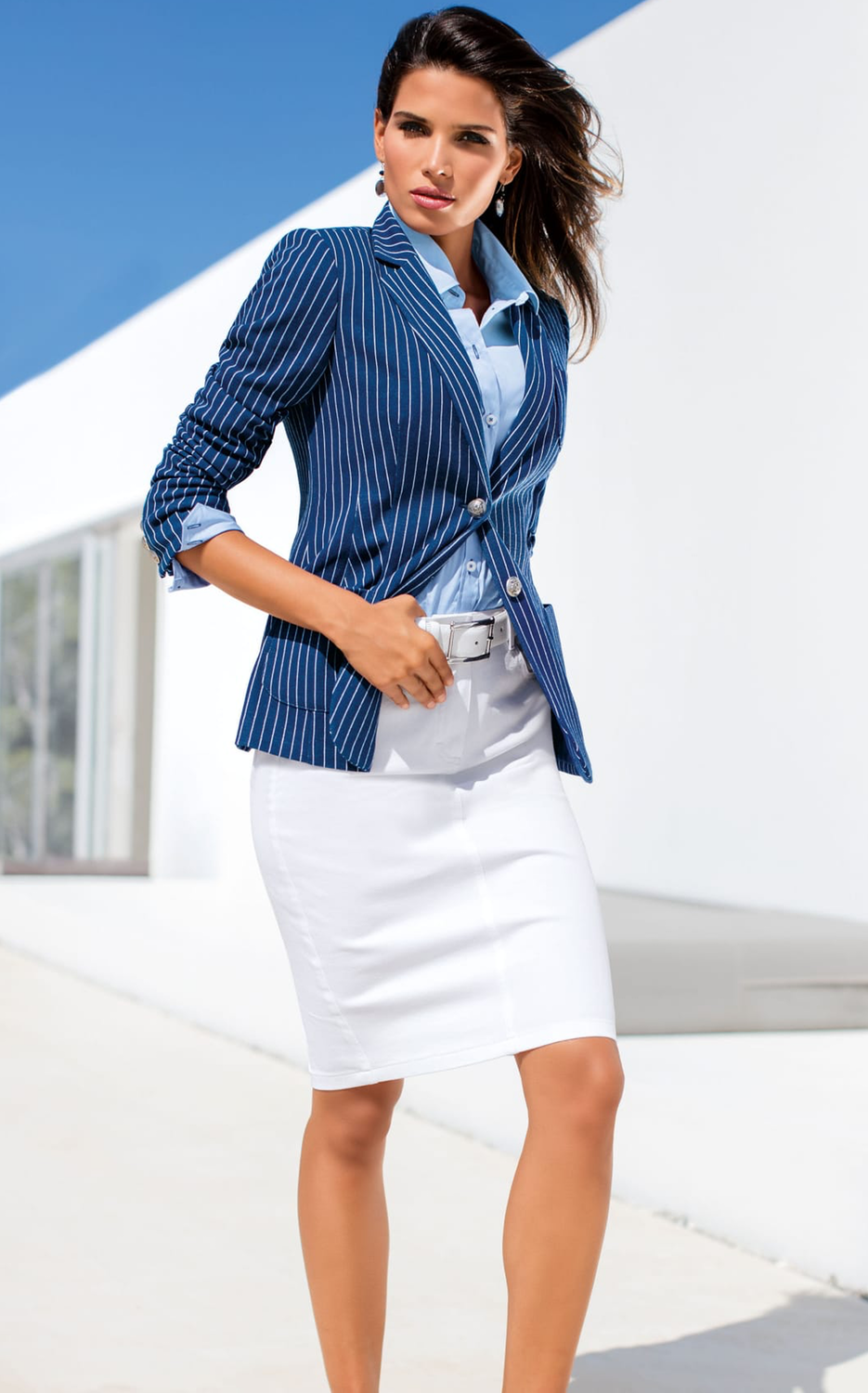 Madeleine Blazer in Grain Blue/White