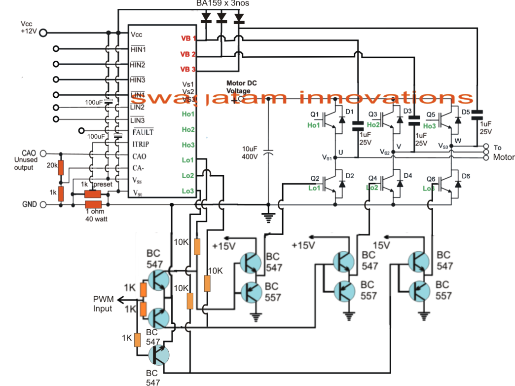 3 Phase Induction Motor Speed Controller Ac Control Circuit On Single Schematics Could Be Tried The Shown In Above Figure Utilizes A Chip Full Bridge Driver Ic Irs2330 Latest Version