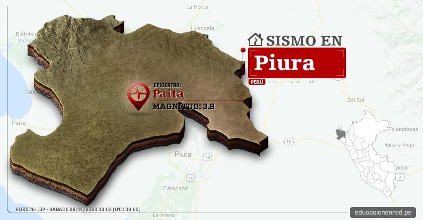 Temblor en Piura de Magnitud 3.9 (Hoy Sábado 28 Noviembre 2020) Sismo - Epicentro - Paita - Sullana - IGP - www.igp.gob.pe