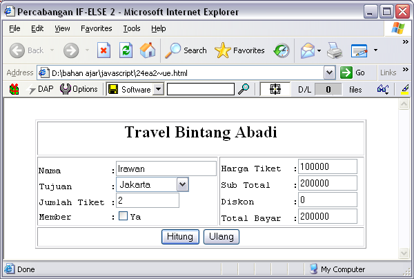 SOURCE CODE Program Tarif Travel Bus JavaScript