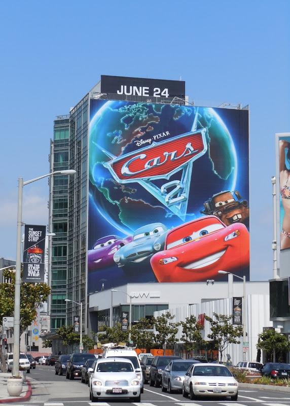 Cars 2 movie billboard Sunset Strip