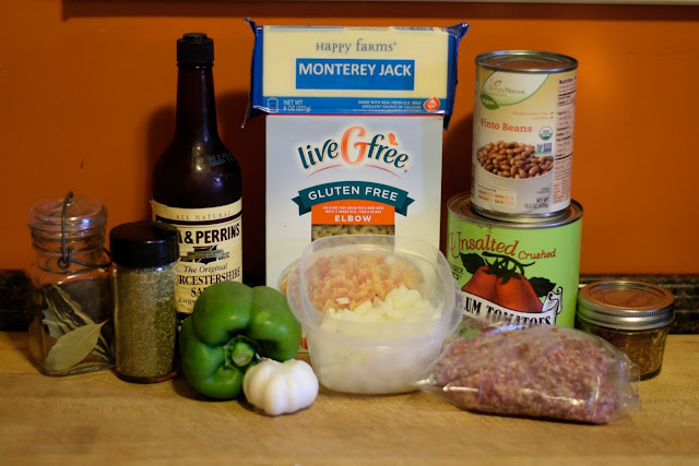 The ingredients needed for the beef and bean goulash