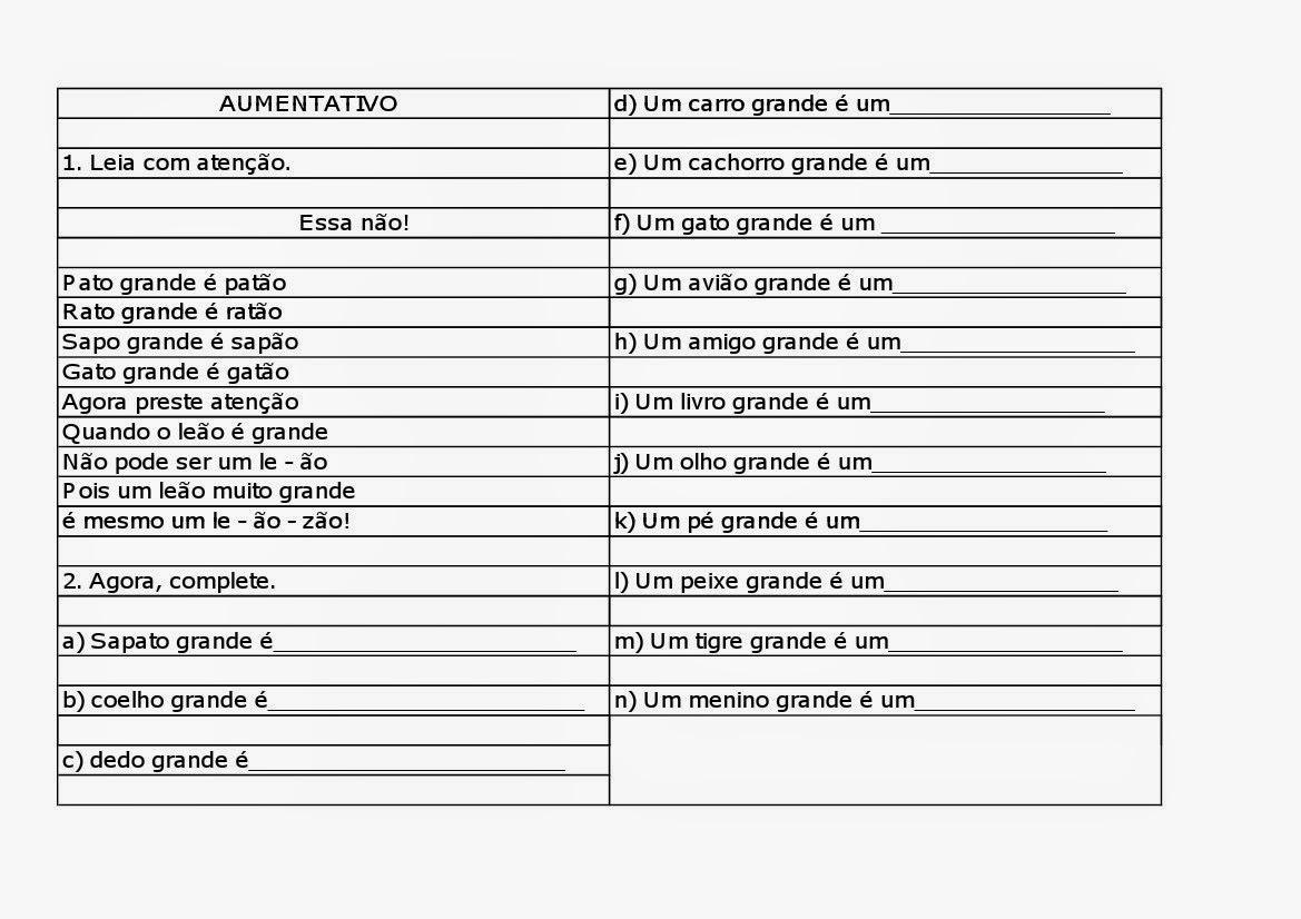 23 09 B 1 Atividades Preparatórias 2 Ofertas: ATIVIDADES COM AUMENTATIVO E