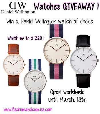Daniel Wellington Watches giveaway on Fashion and Cookies - up to $229 worth