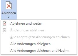 Microsoft Word Kontextmenü Korrekturen ablehnen
