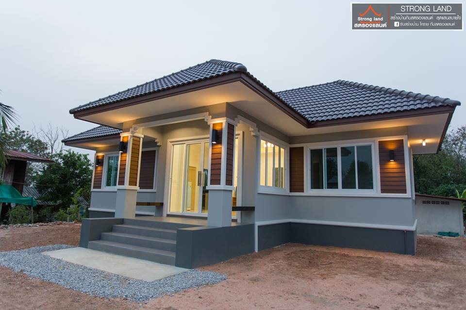 Most of us are planning to have our own house for our own family. If this is the moment that you been waiting for — looking and deciding what house design to construct, then this post might help you! In the list is five one-story houses that will inspire you more to build one, not just for yourself but also for the people you love — your family.  These projects and proposals are beautifully created by Strong Land, a home builder in Thailand.  Follow us through this article and get ideas to start your own dream home project.   1.  Small Bungalow with Spacious Terrace!  Houses with terrace are lovely, isn't it? If you love spending your afternoon or evening 'outside' but don't want to leave the house, you should consider having a house with a terrace. A terrace is a perfect place for you to enjoy your morning coffee or afternoon rest! If your terrace is a bit spacious then it can be used as your receiving area for guest and some friends!  2. Classic and Traditional Design  This cozy one-story house can be considered as timeless because of its classic design. In spite of its traditional-touch, the house offers both functionality and comfort.  One-story houses are ideal for seniors, people with mobility issues or couples with young children.   Its small porch is also perfect additional space to the house. If you are looking for a house design intended for two-bedroom. It is not a bad thing if you consider this!  3. Modern Bungalow  One-story bungalow houses focus on beautiful designs that incorporate different materials throughout the structure. From the driveway and paved walkways to the outdoor flooring the finely finished concrete of this house brings a welcome contrast to the walls and floors. The materials being used in this house outstandingly strong and durable, but most of all, aesthetically pleasing that brings a unique and warm feeling for the homeowner.   4. Simple, Compact and Comfortable  This beautiful home can be your inspiration too. The color palette focuses on colors that emphasize comforts such as grays and whites. Interiors are also lovely! This house design is more beautiful if erected in areas that express a relaxed and tranquil atmosphere, which is the main highlight of this bungalow.  5. Absolutely Lovely!  This single-story project was one of the most beautiful design of Strong Land which focused on a very modern design with a fully furnished living space. The main materials used for the home is concrete that is chosen for its beauty, durability and aesthetically pleasing colors through beautiful color paint combination.  The color palette is focused on creating a comfortable atmosphere by utilizing white and pink shades for the exterior while light blue for the interior.