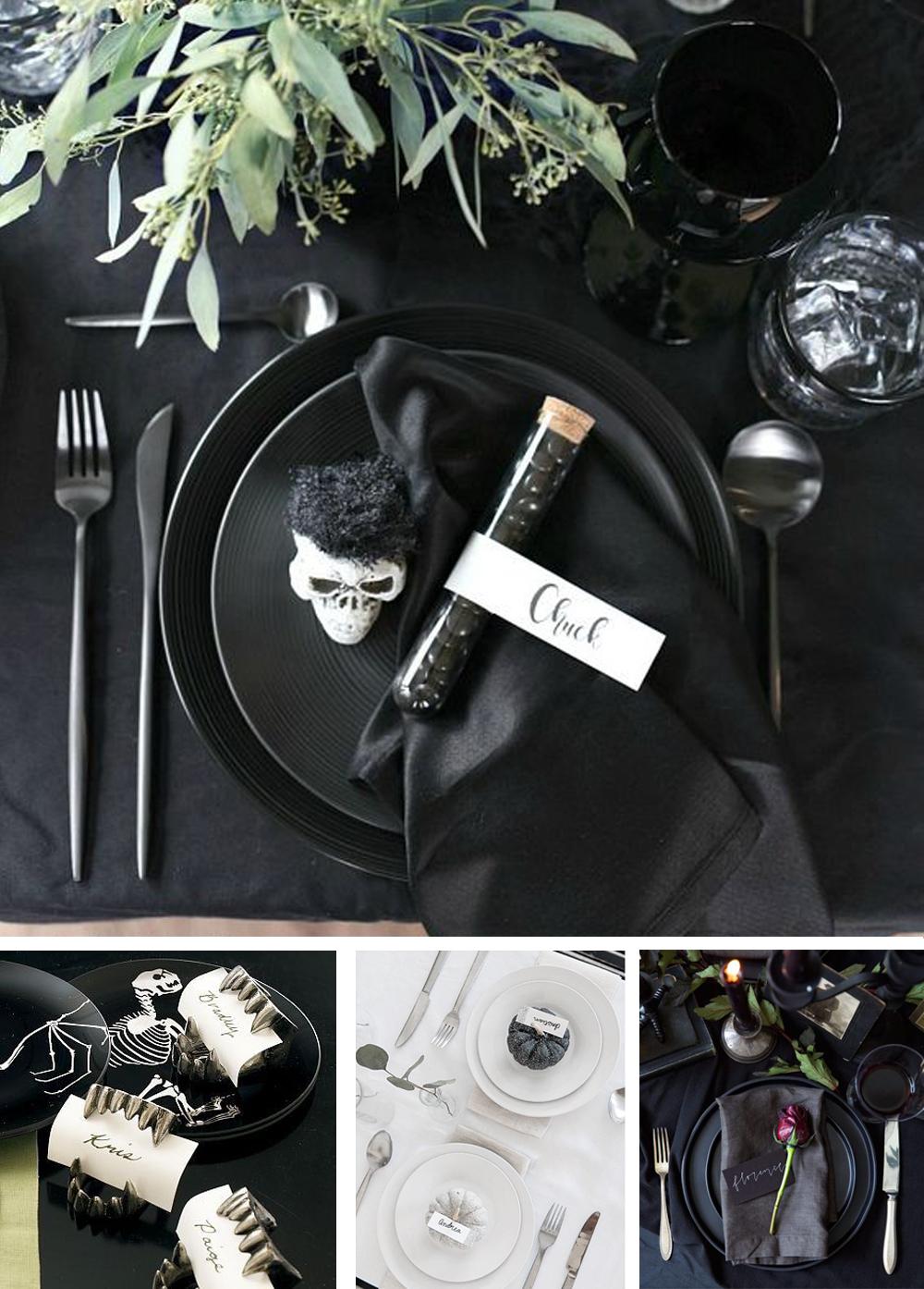 como decorar tu mesa de halloween con nombre de comensales y etiquetas fácil y económico