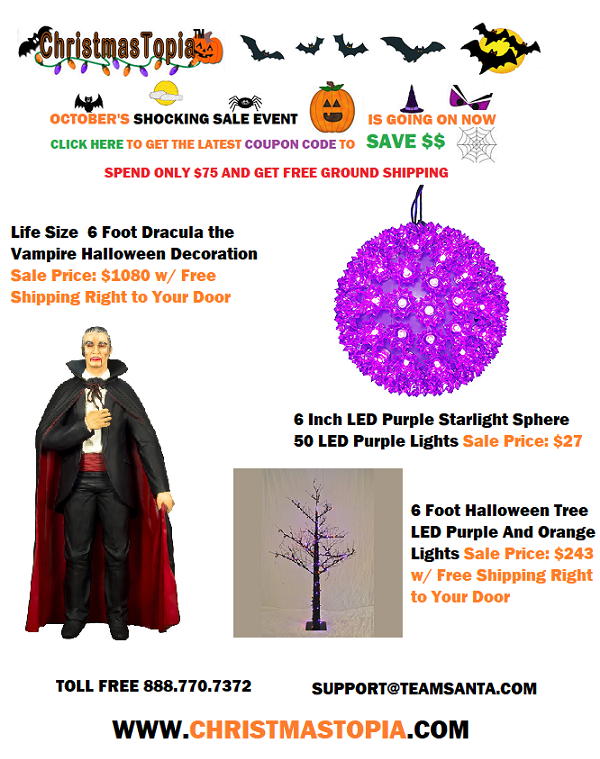 October's Shocking Sale Event continues get your coupon code and FREE shipping and enjoy BIG savings on #Halloween and #Christmas decorations