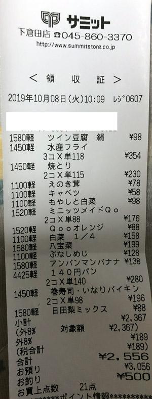 サミット 下倉田店 2019/10/8 のレシート