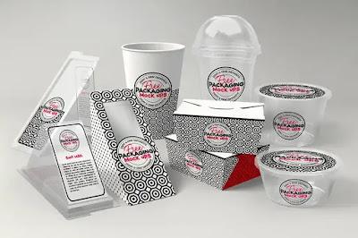 Pack de plantillas de packaging para restaurantes, café, heladería o comida china