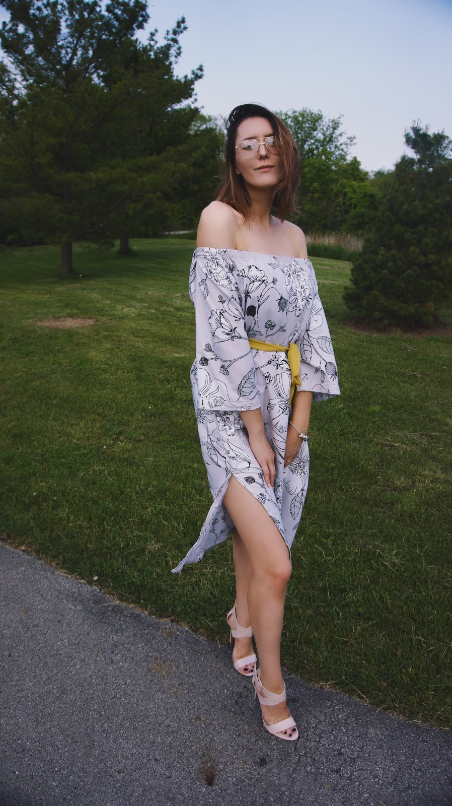 off-the-shoulder dress outfit