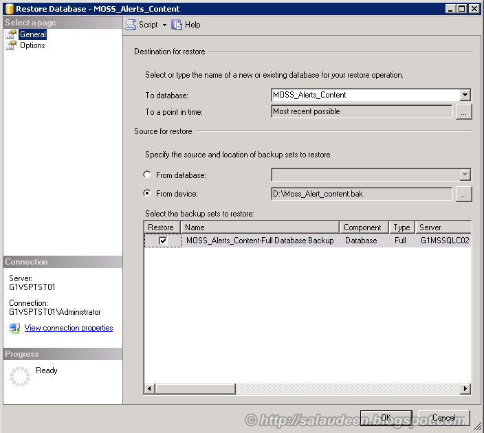 Restore MOSS 2007 Content Database to SharePoint 2010