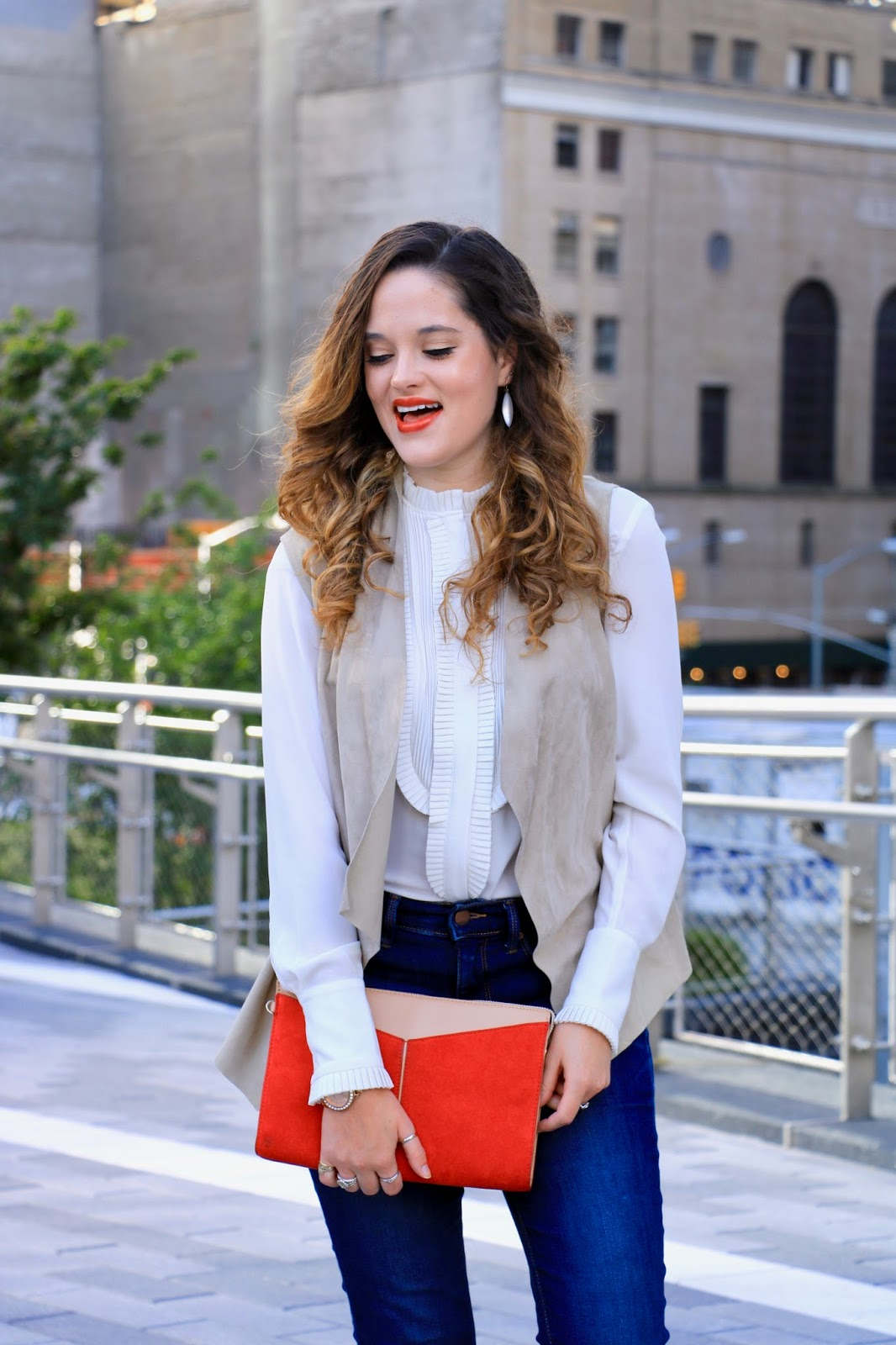 Nyc fashion blogger Kathleen Harper showing how to wear a ruffled blouse