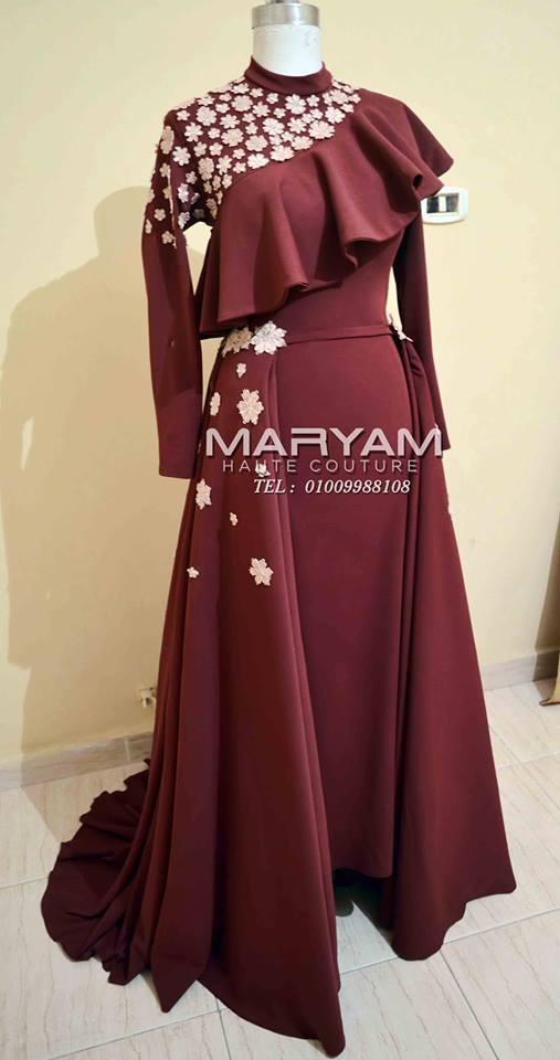 فساتين سواريه, فساتين سواريه محجبات, فساتين باللون النبيتى, تصاميم مريم للأزياء اللااقية