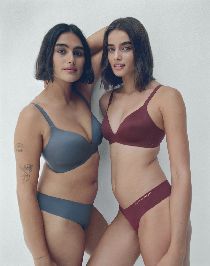 Jill Kortleve and Taylor Hill appear in Victoria's Secret VS Bare Infinity Flex campaign.