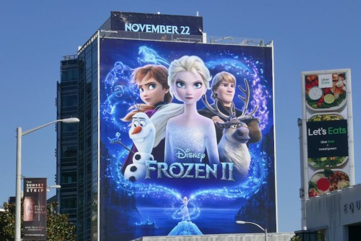 Giant Disney Frozen II movie billboard