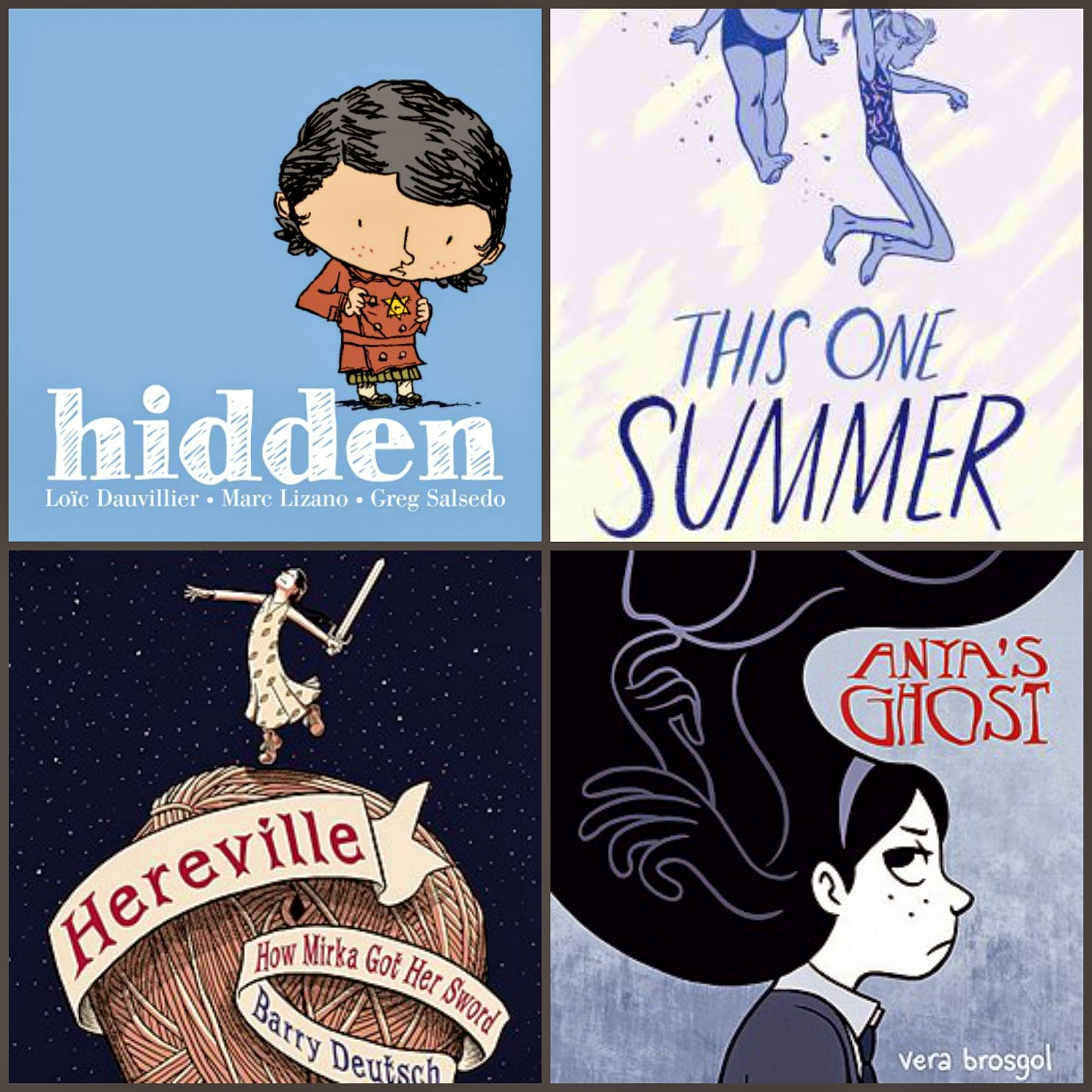 comics: hidden, this one summer, hereville, anya's ghost