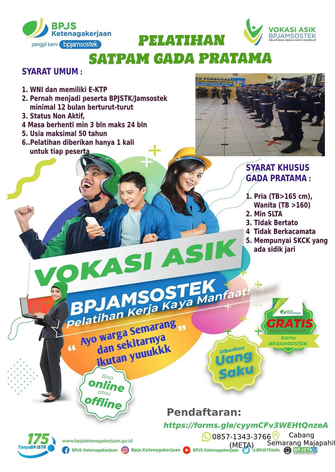 Pelatihan Security Gada Pratama GRATIS Program Vokasi BPJamsostek Semarang Majapahit