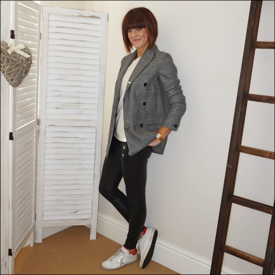 my midlife fashion, all saints astrid check longline double breasted blazer, hush boyfriend cashmere jumper, massimo dutti leather leggings, golden goose superstar low top leather trainers