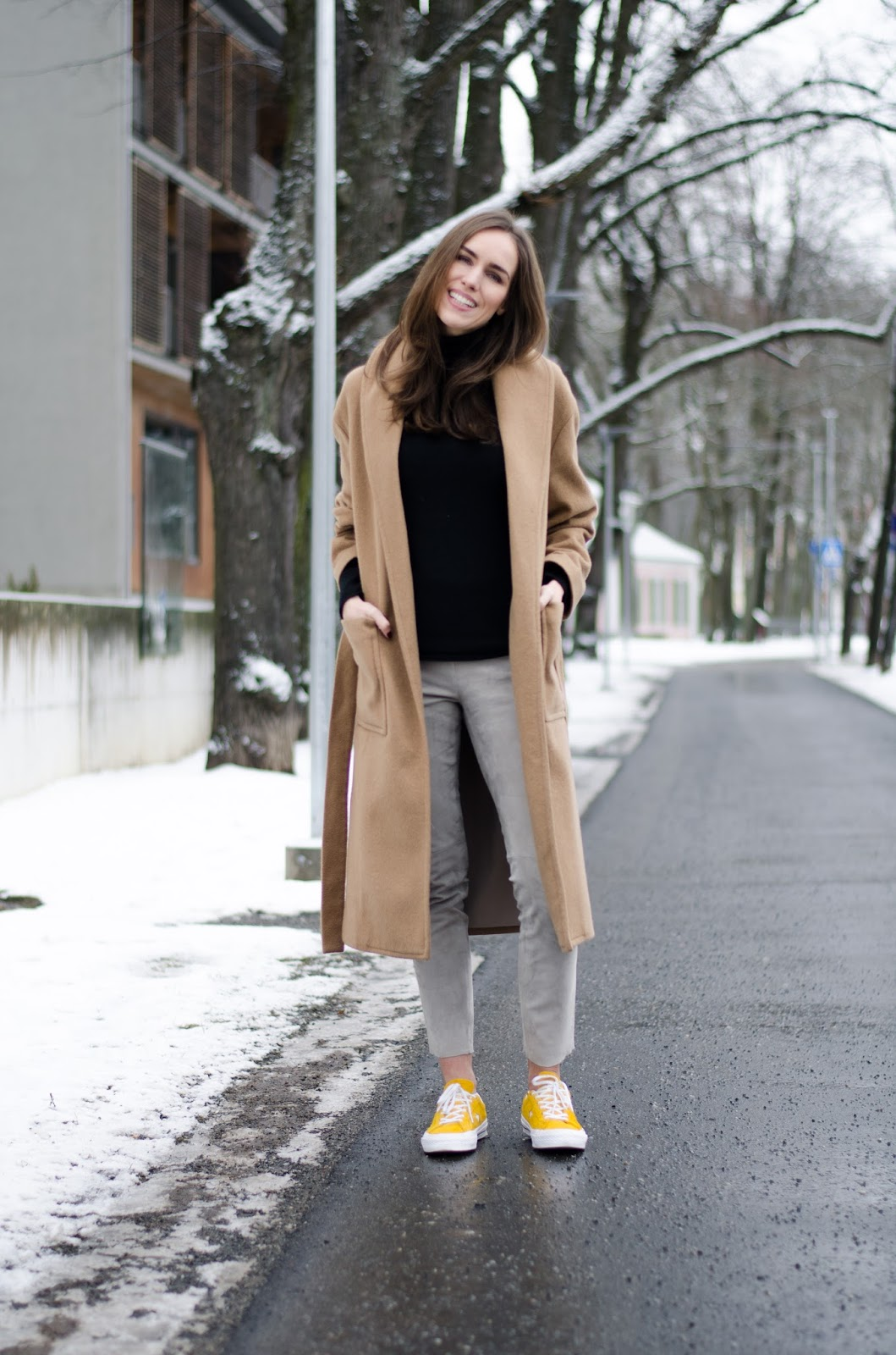 beige suede pants outfit