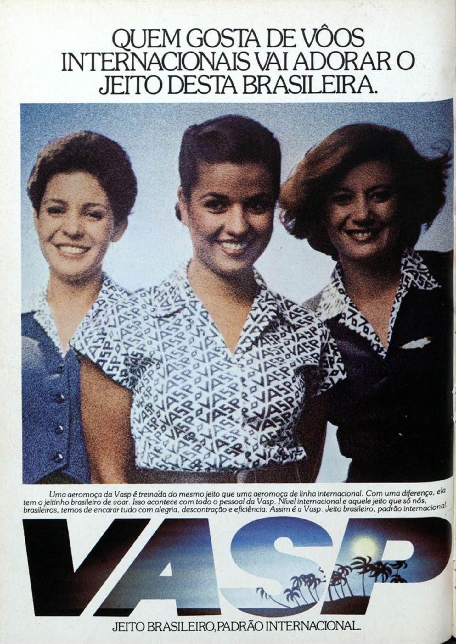 Anúncio antigo da VASP promovendo seus serviços a bordo em voos internacionais em 1980