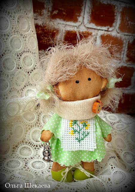 куколка, маленькая, кукла, текстильная, ручнаяработа,