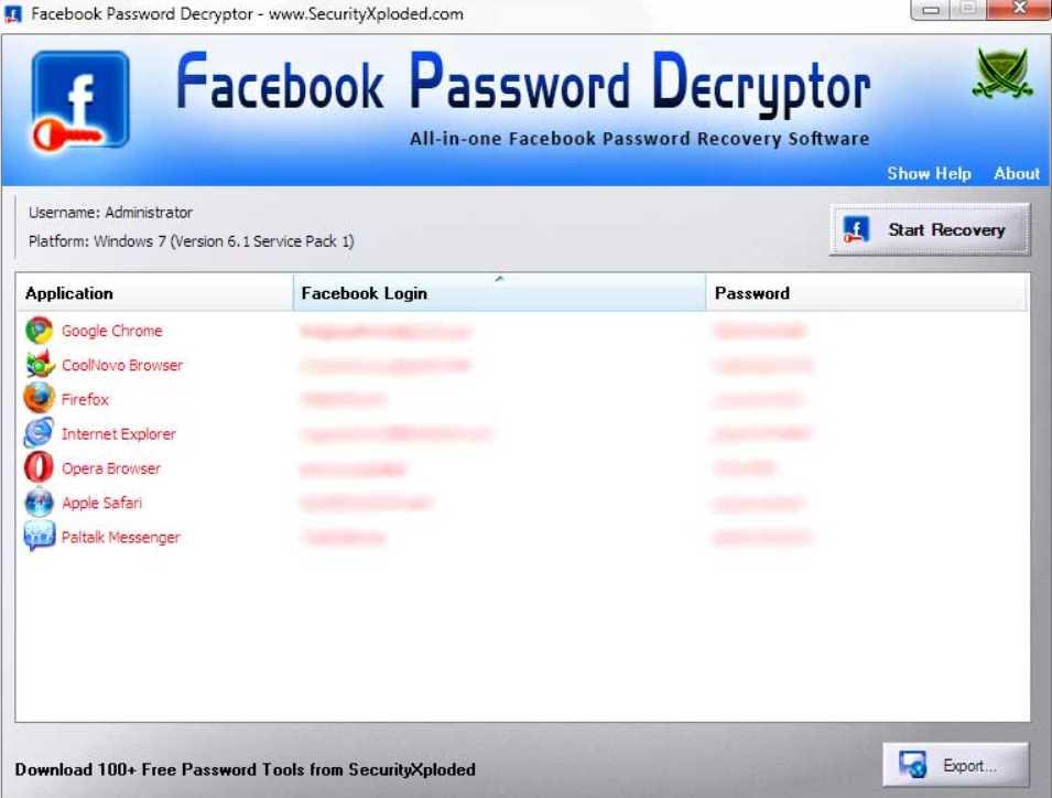 Facebook Password Decryptor 15.0