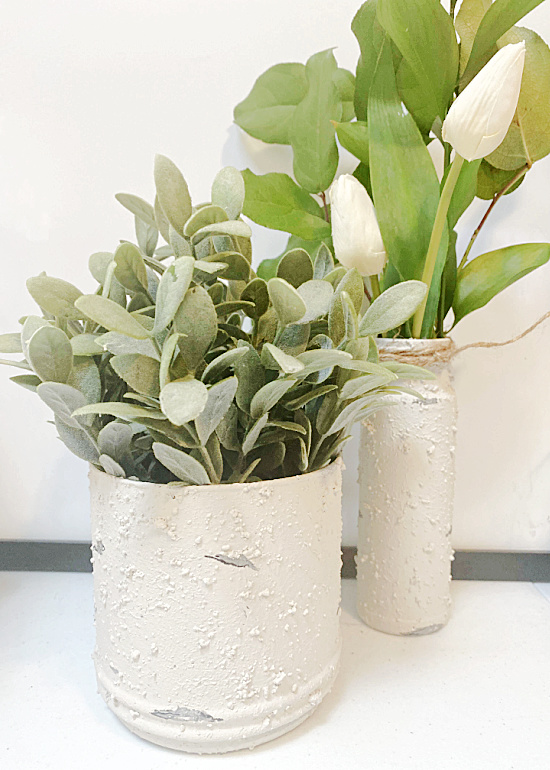 vases and pots with paint treatment