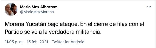 """Mario Mex borra en Facebook que está """"Morena Yucatán bajo ataque"""""""