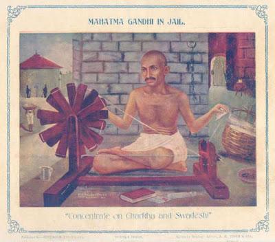 जेल में चरखा चलाते महात्मा गांधी