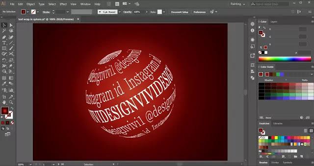 Wrap Text around Sphere in Adobe Illustrator