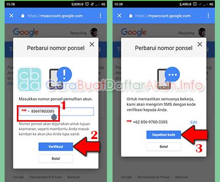 cara update nomor telepon di akun google