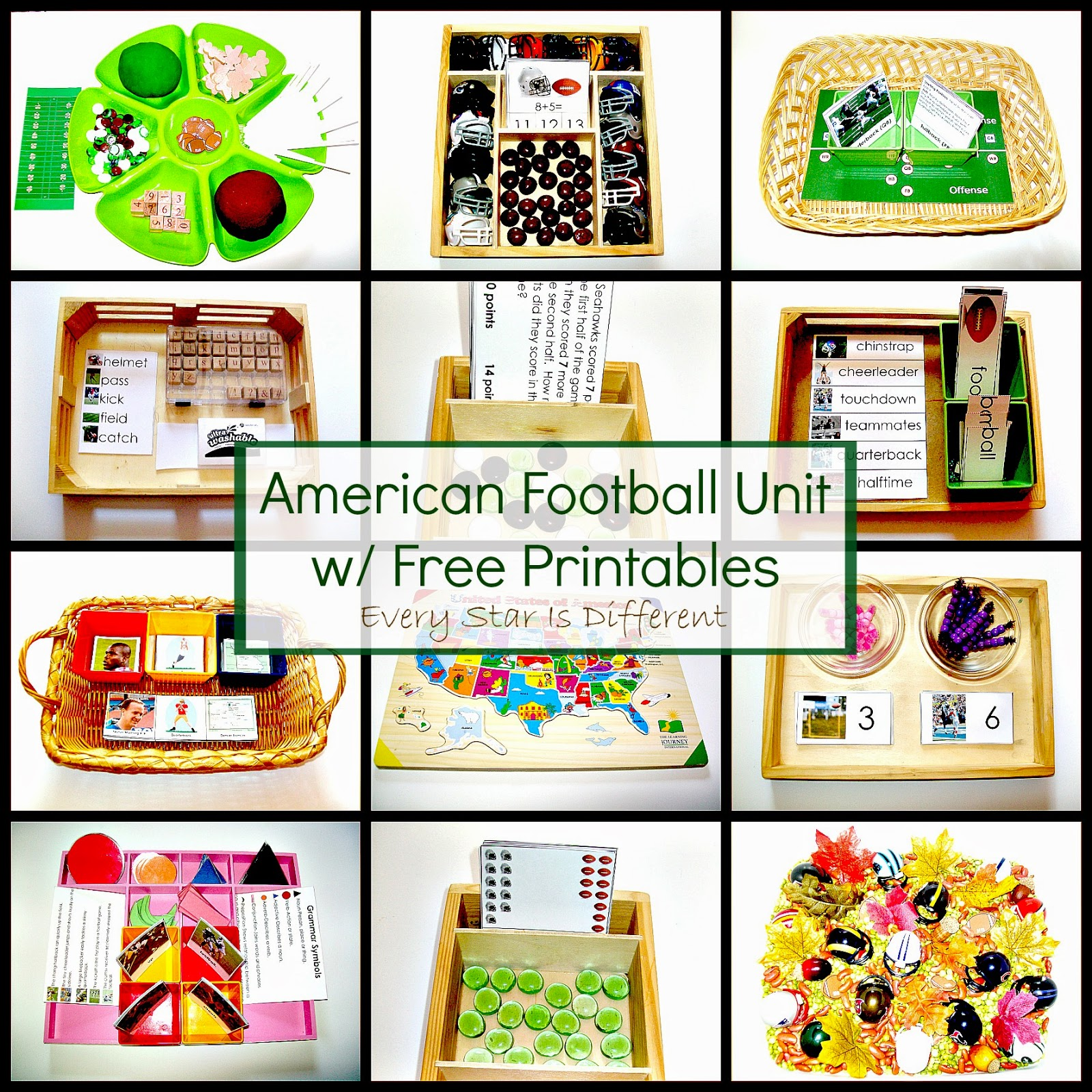 American Football Unit W Free Printables