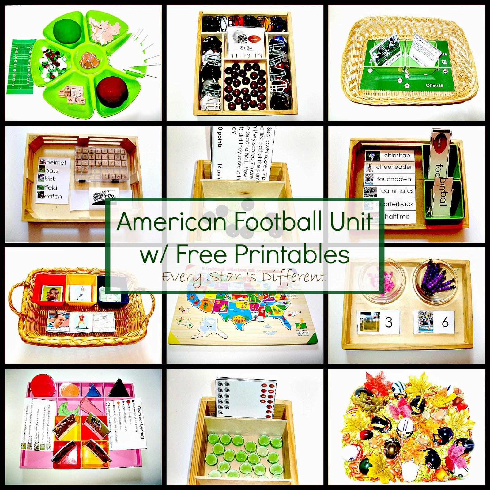 American Football Unit W Free Printables