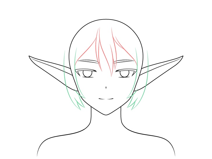Sisi gadis anime gambar rambut elf