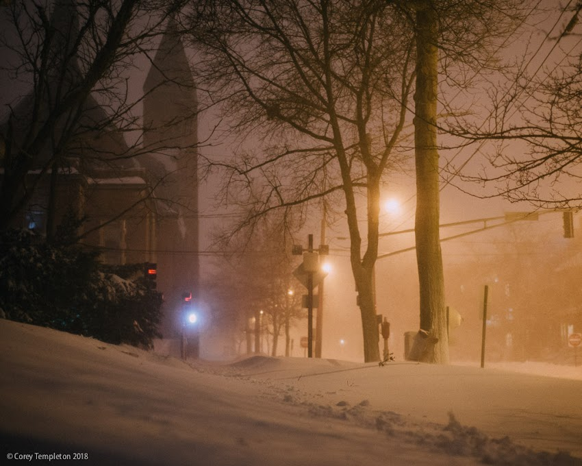 Portland, Maine USA January 2018 photo by Corey Templeton. Took a quick stroll through the blizzard this evening. Lucky to live in such a scenic part of town. This is from State Street.