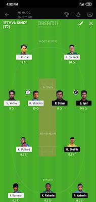 MI VS DC Qualifier 1 Dream 11 5 Nov 100% The Dream Team Winning IPL 2020