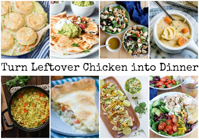 collage of various chicken recipes that can be made from leftover chicken