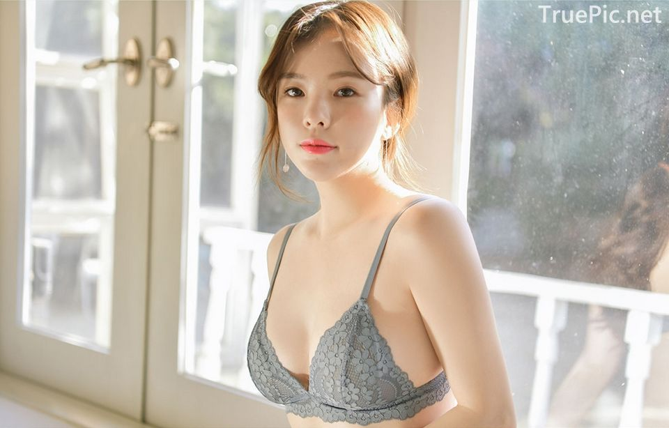 Korean model and fashion - Lingerie queen Haneul - Gray blue Lingerie set - Picture 7