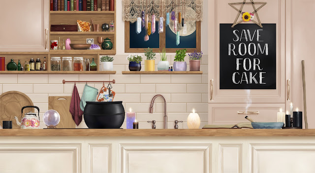 An illustration of a kitchen with pastel pink and white cabinets. One cabinet is open displaying Wynona's altar. It includes items such as crystals, decorative bowl, mortar and pestle, a chalice, Wynona's favorite mug, and a bell. She has also hung plenty of different crystals in front of her window. We can now see a full moon. White, black, purple, and yellow candles are lit. A piece of wood has been recently lit for smudging. A pentagram made out of sprigs and flowers is hanging on one of the cabinets.