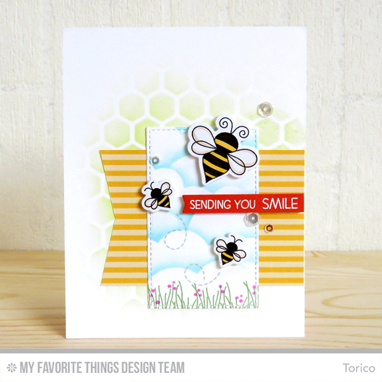 Handmade card from Torico featuring Lisa Johnson Designs Fly-By Friends stamp set and Die-namics, Stitched Cloud Edges, Stitched Rectangle STAX, and Blueprints 28 Die-namics, and Mini Chicken Wire stencil #mftstamps