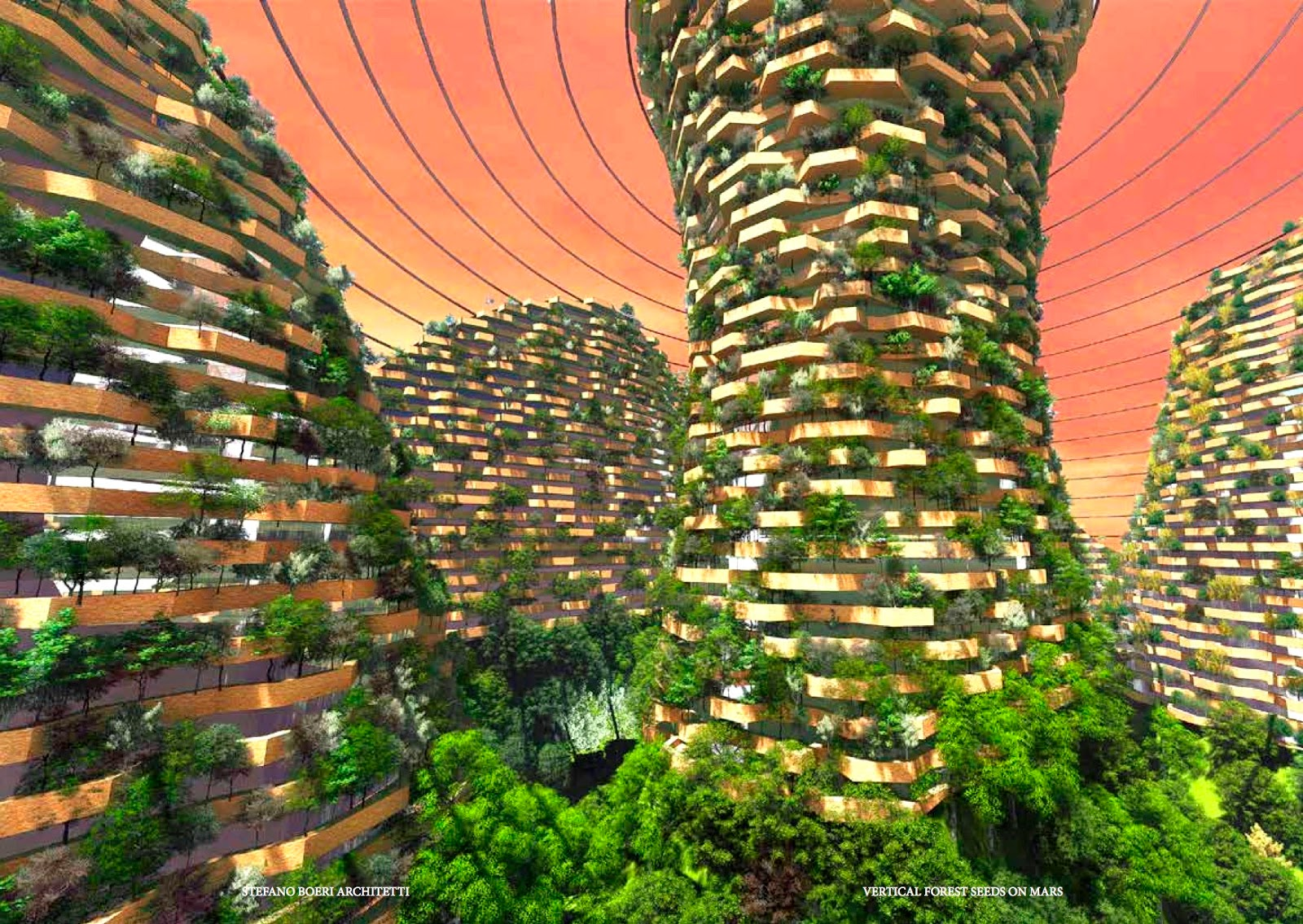 New Shanghai 2117 vertical forest skyscraper eco-city on Mars by Stefano Boeri
