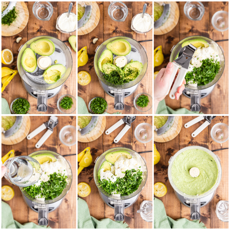 Six photos of the process of making Avocado Ranch Dressing and Dip.