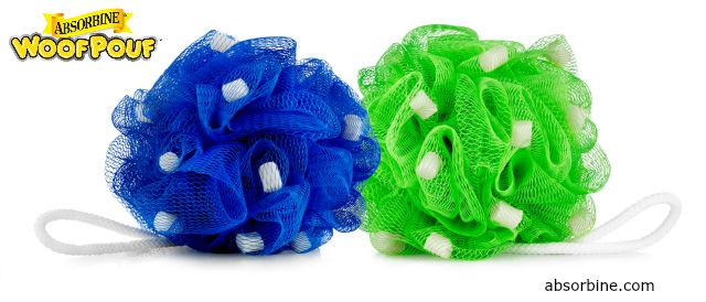 Absorbine's ShowSheen Woof Pouf (blue) and UltraShield Woof Pouf (green)