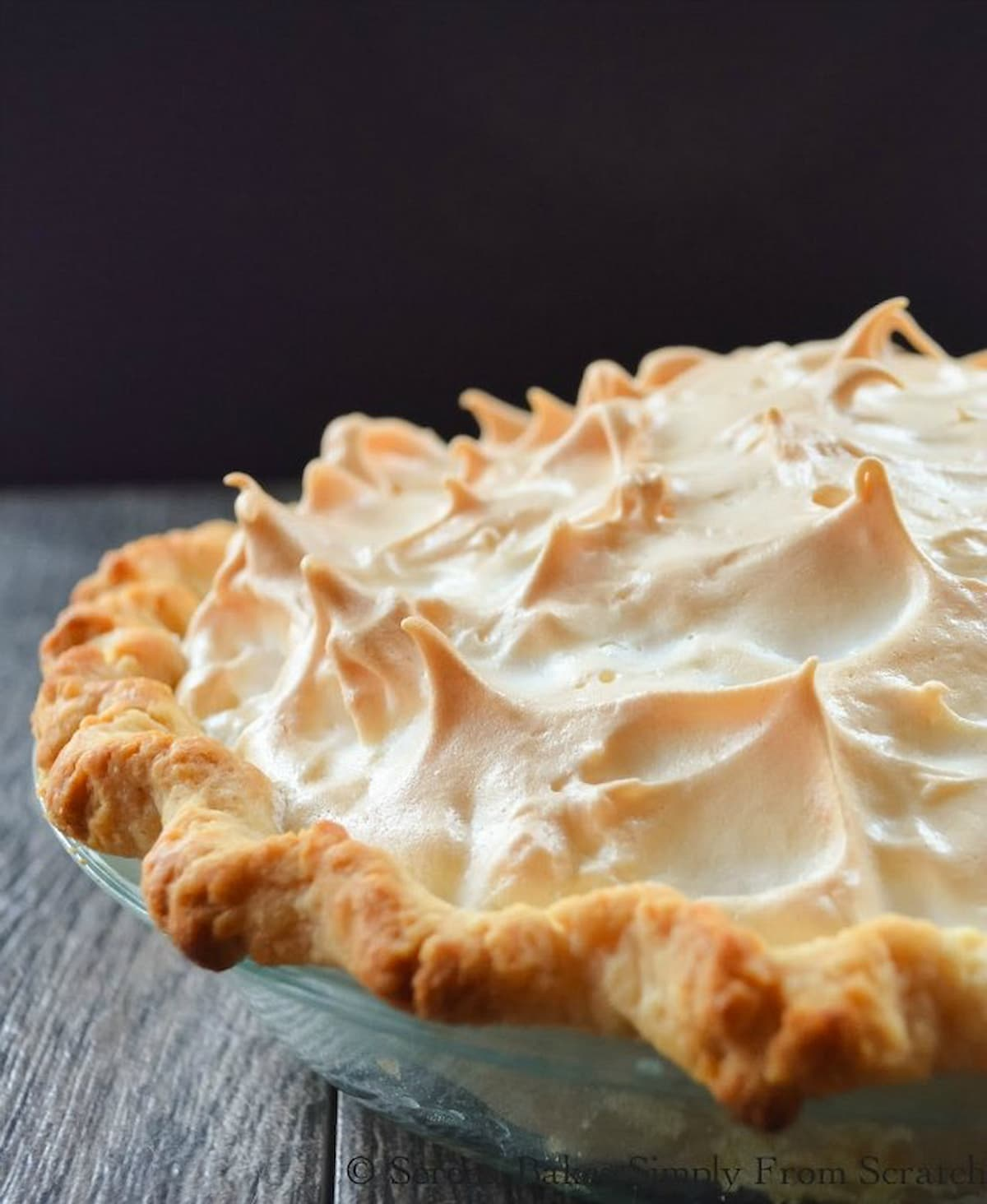 A whole Lemon Meringue Pie topped with a weep free meringue.