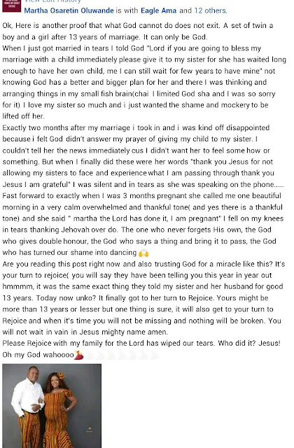 Nigerian couple welcome twins after 13 years of marriage (videos/photos)