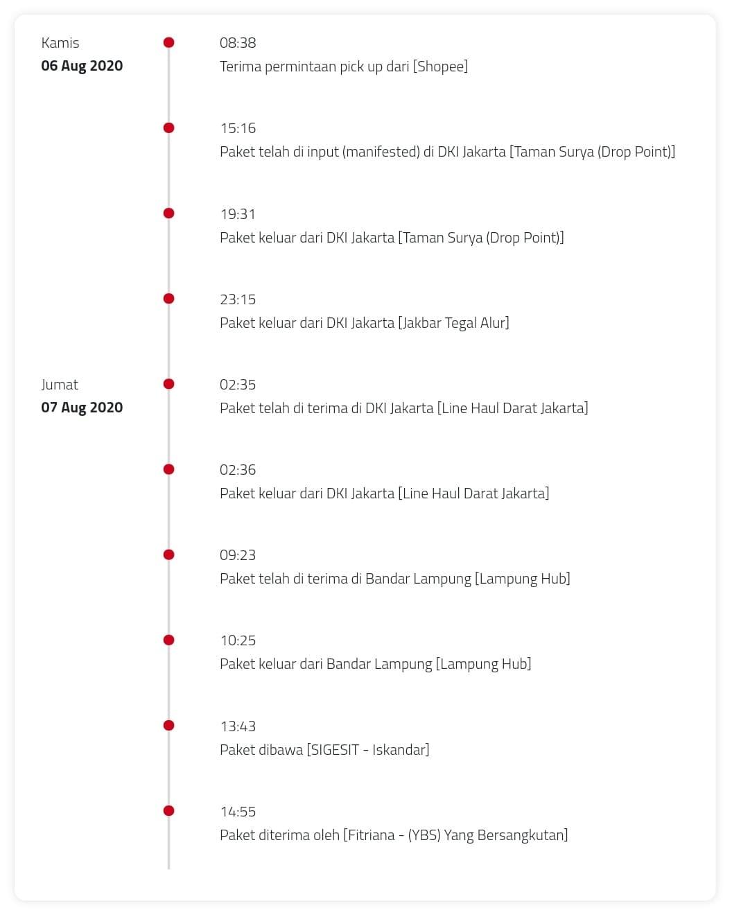 Berapa lama pengiriman Sicepat Express Reguler?